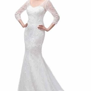 Dresses & Skirts - WHITE Long Sleeved Lace Bridal Gown NWT